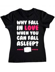 Tricou ADLER dama Why fall in love Negru
