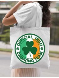 Sacosa din panza Irish Drinking Team Alb
