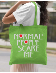 Sacosa din panza Normal people scare me Verde mar