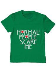 Tricou ADLER copil Normal people scare me Verde mediu