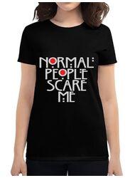 Tricou ADLER dama Normal people scare me Negru