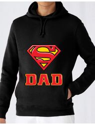 Hoodie barbat cu gluga Super Dad Negru