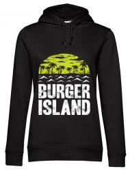 Hoodie dama cu gluga Burger island Negru