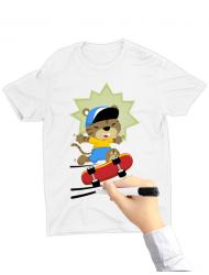 Tricou de colorat Cat on skate