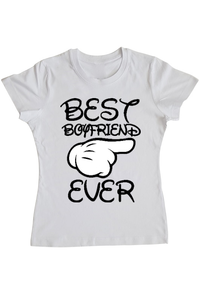 Tricou ADLER copil Best boyfriend ever Alb