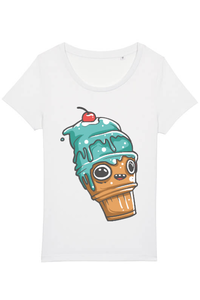 Tricou ADLER copil Blue ice cream cone character Alb