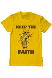 Sacosa din panza Keep the Faith Galben