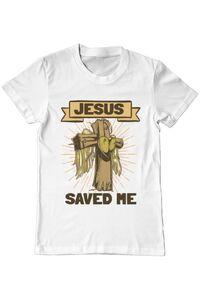 Hoodie barbat cu gluga Jesus Saved Me Alb