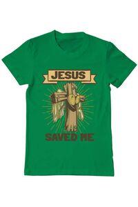 Tricou ADLER dama Jesus Saved Me Verde mediu
