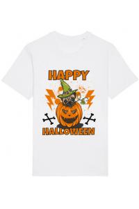 Tricou ADLER copil Halloween Pug Alb