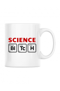 Sacosa din panza Science Bitch Alb