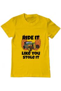 Sacosa din panza Ride it like you stole it Galben