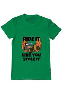 Tricou ADLER copil Ride it like you stole it Verde mediu