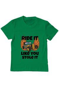 Tricou ADLER barbat Ride it like you stole it Verde mediu