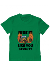 Tricou ADLER dama Ride it like you stole it Verde mediu