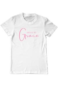 Tricou ADLER copil Saved By Grace Alb