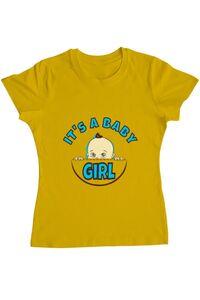 Tricou ADLER barbat It's a baby girl Galben