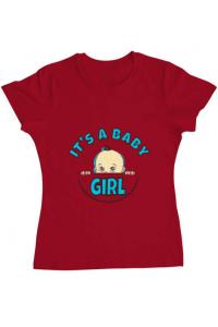 Tricou ADLER copil It's a baby girl Rosu