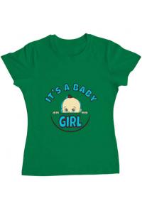 Tricou ADLER barbat It's a baby girl Verde mediu