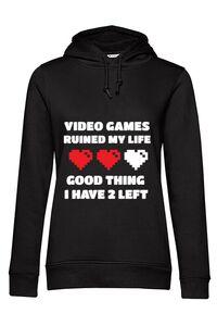 Hoodie barbat cu gluga Video games ruined my life Negru