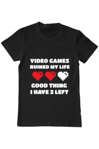 Tricou ADLER copil Video games ruined my life Negru