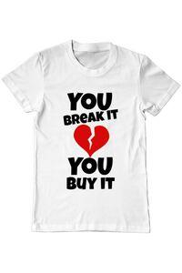 Hoodie barbat cu gluga You break it , you buy it Alb