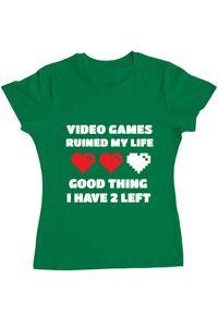 Tricou ADLER barbat Video games ruined my life Verde mediu