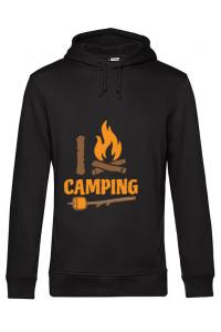 Masca personalizata reutilizabila I love Camping Negru