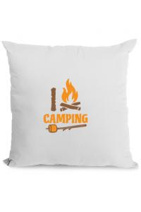 Masca personalizata reutilizabila I love Camping Alb