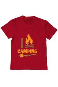 Tricou ADLER barbat I love Camping Rosu