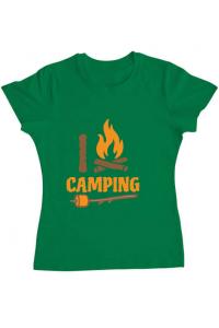 Tricou ADLER barbat I love Camping Verde mediu