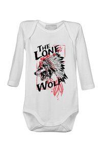 Hoodie barbat cu gluga The lone wolf Alb