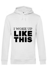 Masca personalizata reutilizabila I woke up like this Alb