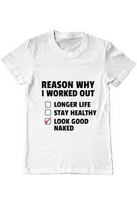 Sacosa din panza Reason why I work out Alb