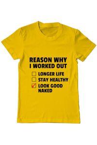 Sacosa din panza Reason why I work out Galben