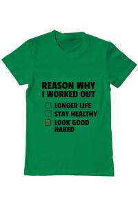 Tricou ADLER copil Reason why I work out Verde mediu