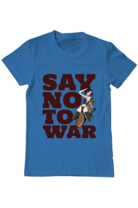 Tricou ADLER dama Say no to war Albastru azuriu