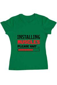 Tricou ADLER barbat Installing Muscles Verde mediu