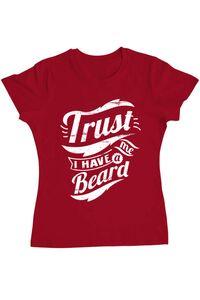 Tricou ADLER copil Trust me, I have a beard Rosu
