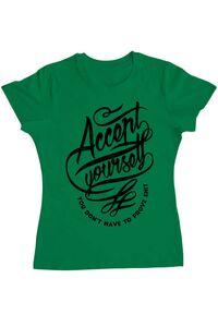 Tricou ADLER copil Accept Yourself Verde mediu