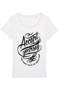 Tricou ADLER copil Accept Yourself Alb