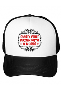 Masca personalizata reutilizabila Safety first drink with a nurse Alb