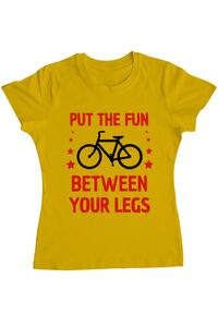 Sacosa din panza Put the fun Between your legs Galben