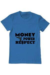 Tricou ADLER dama Money, power,respect Albastru azuriu