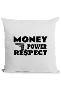 Sacosa din panza Money, power,respect Alb