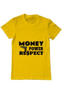 Tricou ADLER dama Money, power,respect Galben