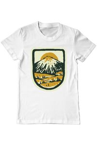Tricou ADLER copil Hand drawn mountains Alb