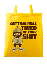 Tricou ADLER barbat Tired of your shit Galben