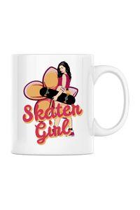 Sacosa din panza Skater Girl Alb