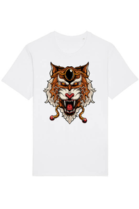 Tricou ADLER copil Japanese tiger head Alb